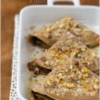 Crepes di farina di castagne con cavolo nero, ricotta e noci